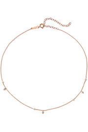 Dew Drop 14-karat rose gold, pearl and diamond choker