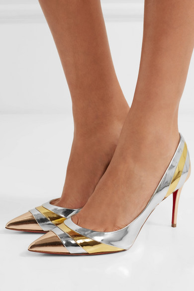 premium selection 76065 8dcac Christian Louboutin | Eklectica 85 striped mirrored-leather ...