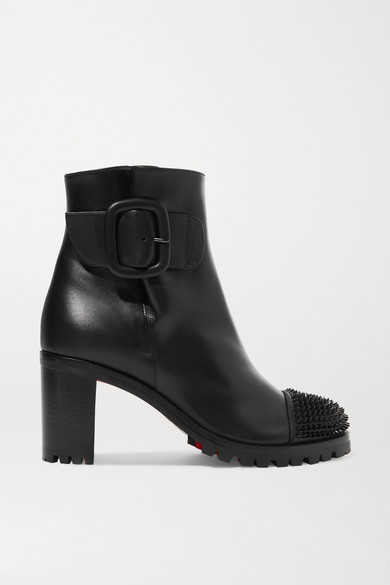 CHRISTIAN LOUBOUTIN Olivia Snow 70 Spiked Leather Ankle Boots in Black