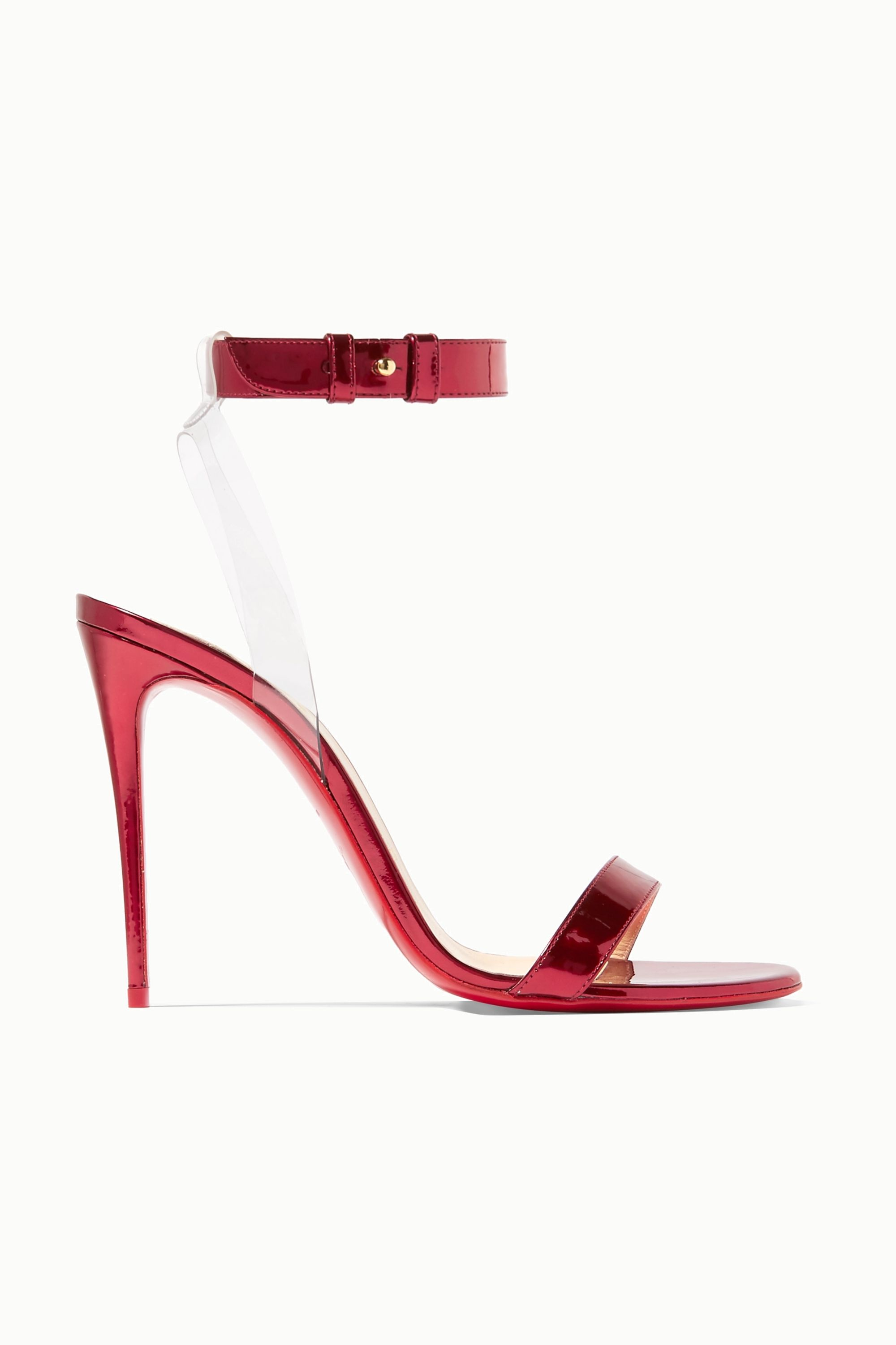 Christian Louboutin Jonatina 100 PVC-trimmed mirrored-leather sandals