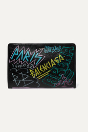 Bazar Graffiti printed textured-leather pouch