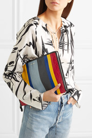 Bazar striped textured-leather pouch