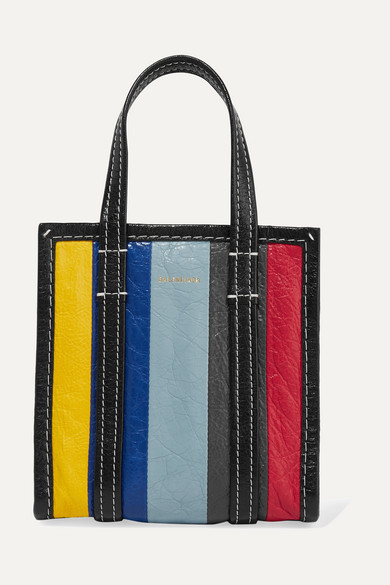 Bazar Xxs Striped Textured-Leather Tote, Blue