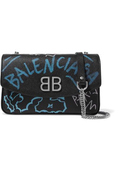 Bazar Graffiti Printed Textured-Leather Shoulder Bag in Black