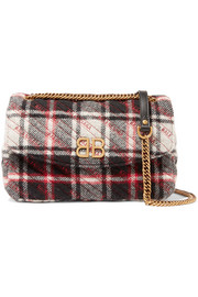 Balenciaga BB medium checked quilted wool shoulder bag