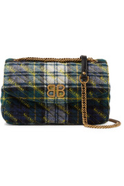 Balenciaga BB Round medium embroidered tartan wool shoulder bag
