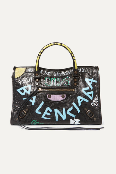 2f0467c94ff Balenciaga Classic City S Arena Graffiti Small Leather Shoulder Bag In Black
