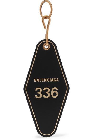 Hotel Printed Leather Keychain by Balenciaga