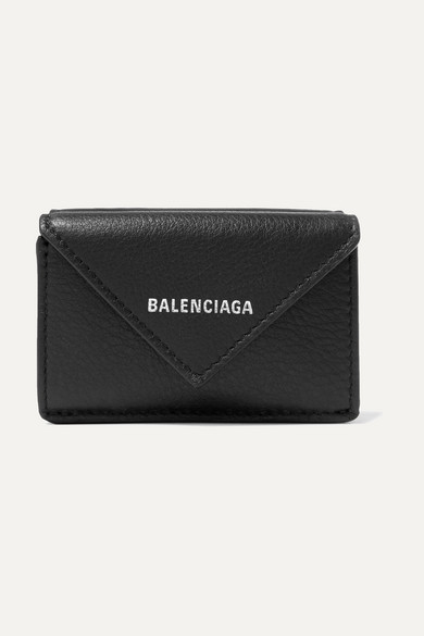 Balenciaga Wallets Paper mini printed textured-leather wallet