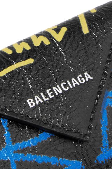 Balenciaga Wallets Paper mini printed textured-leather wallet