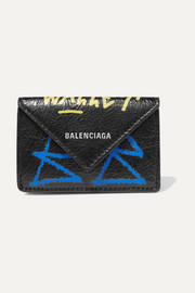 Balenciaga Paper mini printed textured-leather wallet