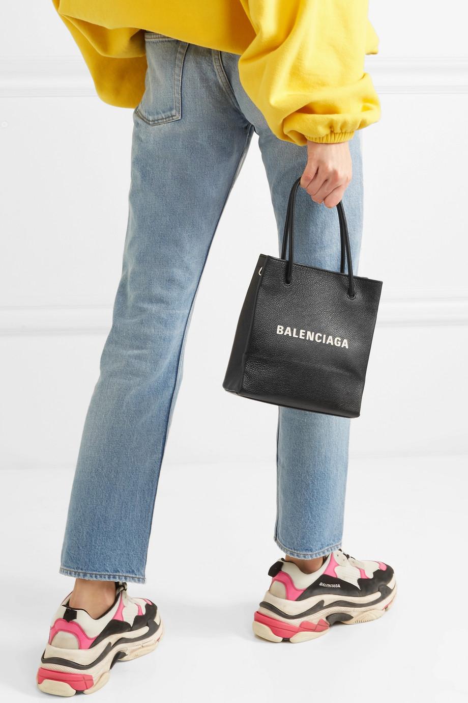 Balenciaga XXS printed textured-leather tote