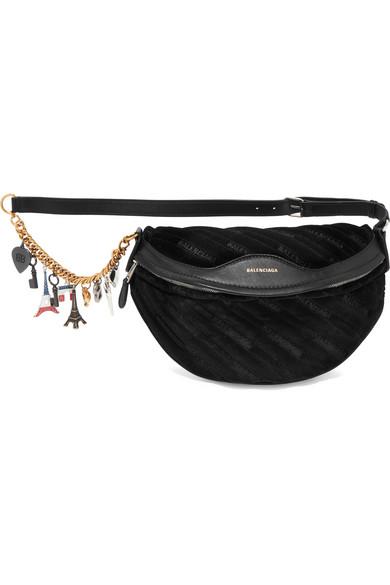 Balenciaga. Souvenir embellished leather-trimmed velvet belt bag