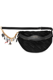 Balenciaga Souvenir embellished leather-trimmed velvet belt bag