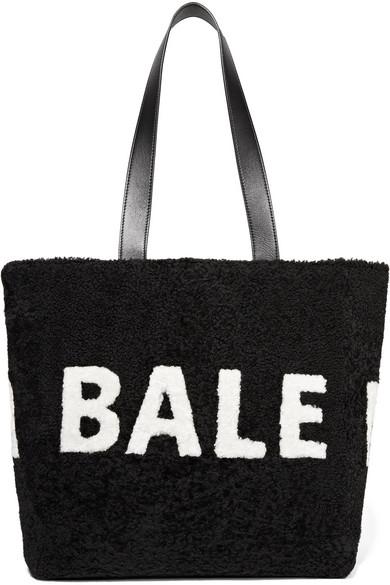 BALENCIAGA INTARSIA SHEARLING SHOULDER BAG