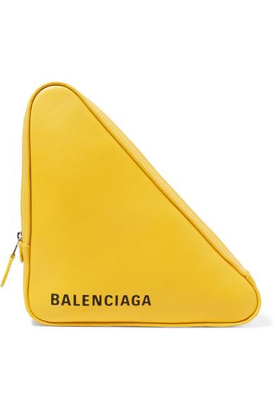 Balenciaga - Triangle Duffle Printed Textured-leather Tote - Yellow
