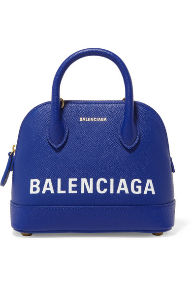 Balenciaga - Ville Mini Printed Textured-leather Tote - Blue