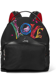 Christian Louboutin Backloubi studded textured leather-trimmed printed shell backpack