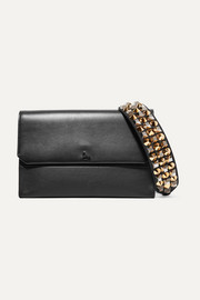 Christian Louboutin Loubiblues studded smooth and textured-leather clutch