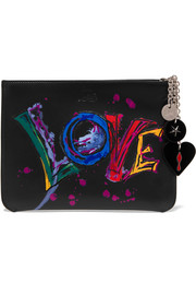 Christian Louboutin Loubicute embellished printed leather pouch