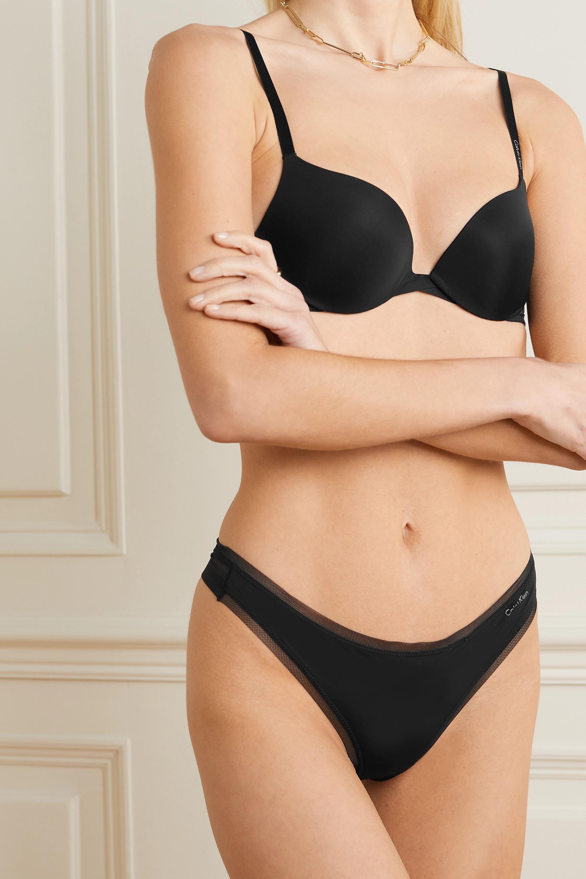 Calvin Klein Underwear Sculpted Plunge Push-Up stretch-jersey and mesh underwired bra