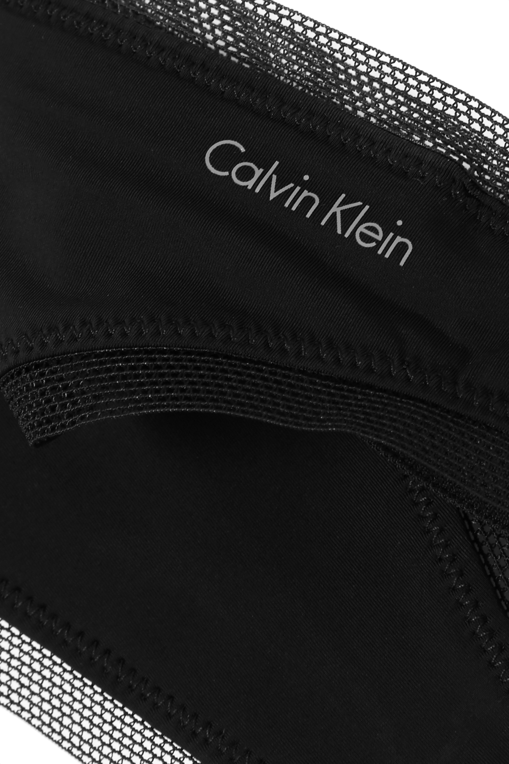 Black Sculpted Stretch-jersey And Mesh Thong | Calvin Klein Underwear
