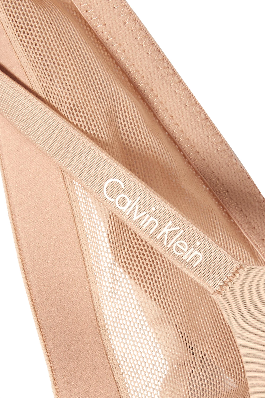 Beige Sculpted Plunge Push-up Stretch-jersey And Mesh Underwired Bra | Calvin Klein Underwear