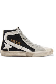 Golden Goose Deluxe Brand Slide glittered distressed suede high-top sneakers