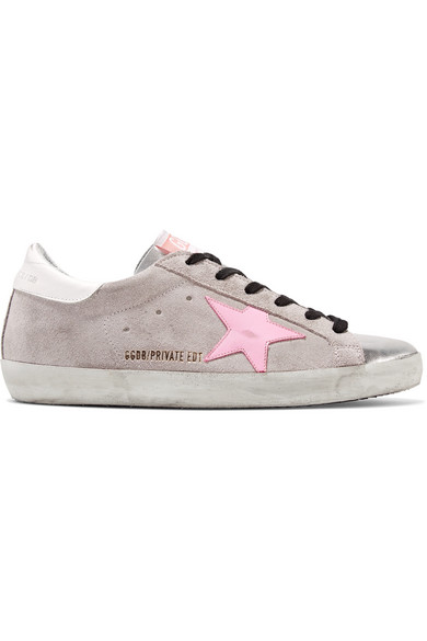 1b56b2c99 Golden Goose. Superstar distressed glittered suede and leather sneakers