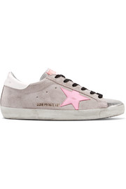Golden Goose Deluxe Brand Superstar distressed glittered suede and leather sneakers