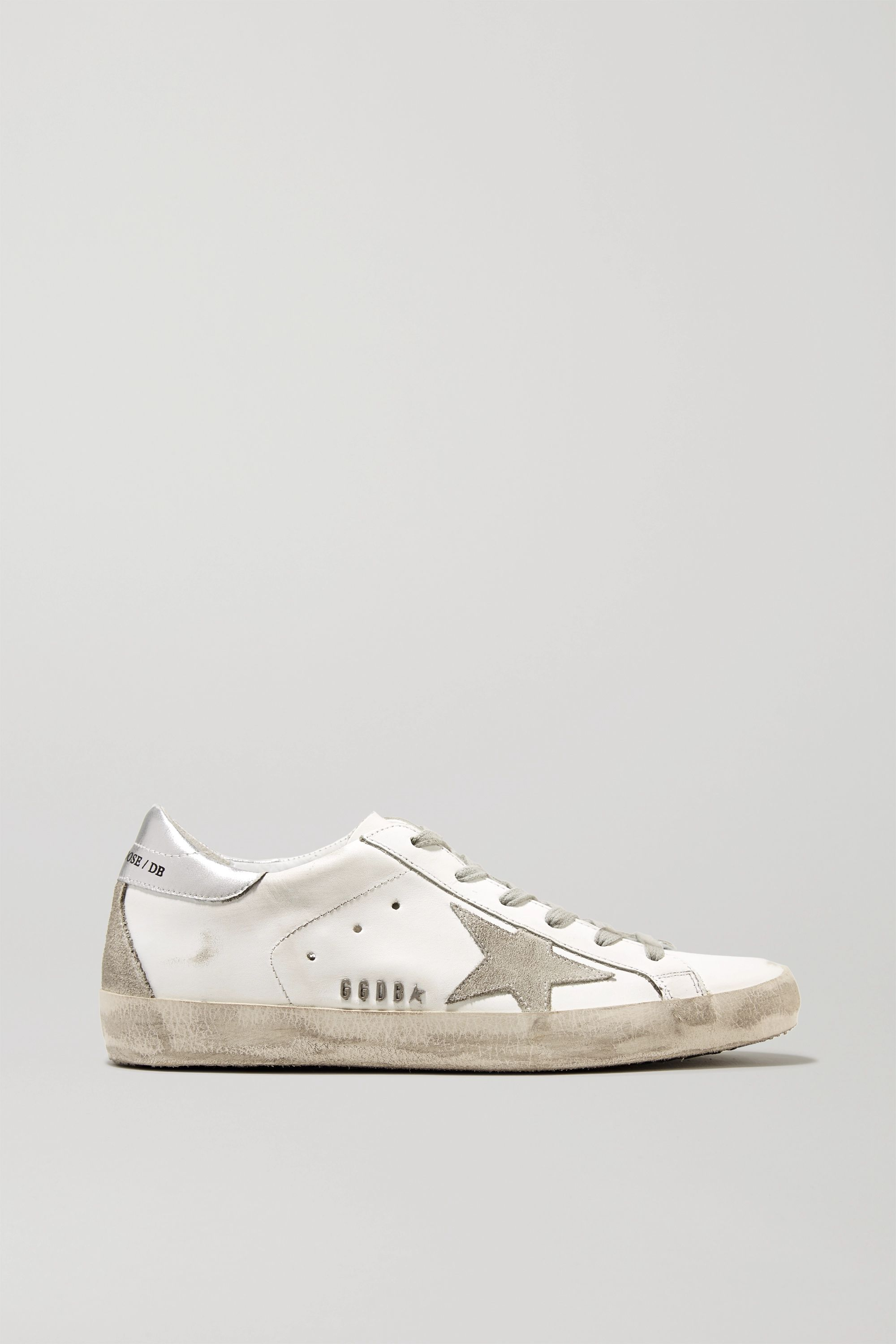 Golden Goose Superstar distressed metallic leather and suede sneakers