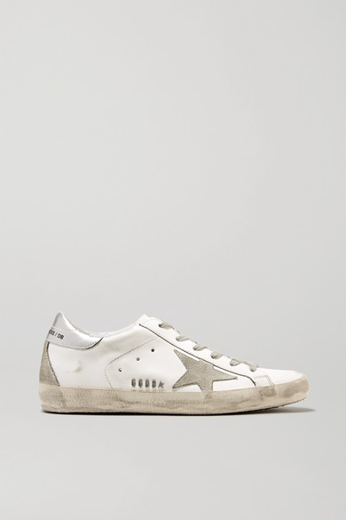 Superstar Distressed Metallic Leather And Suede Sneakers in White