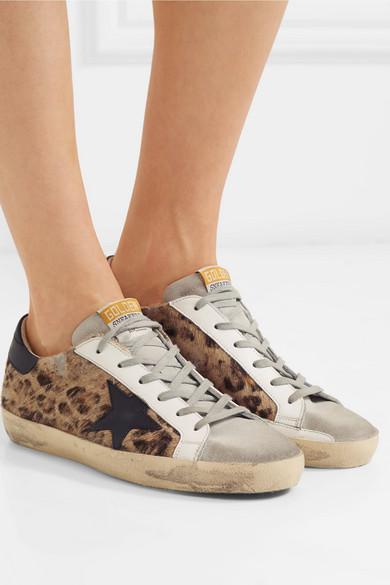 Superstar distressed leopard-print calf