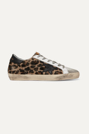 Golden Goose Deluxe Brand Superstar distressed leopard-print calf hair, leather and suede sneakers