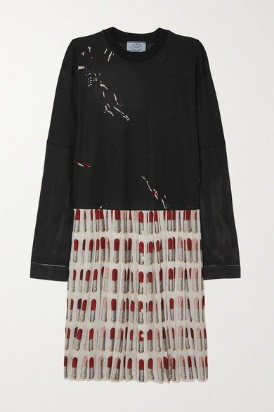 Printed Cotton Jersey And Pleated Silk Crepe De Chine Dress by Prada