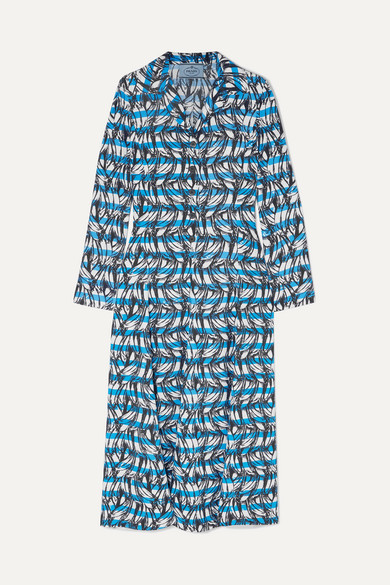 Banana Stripe Collared Midi Dress in Blue