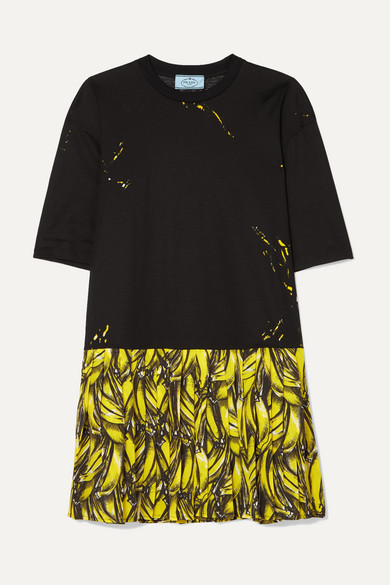 Pleated Printed Crepe De Chine Mini Dress by Prada