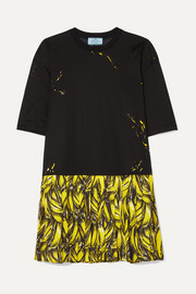 Prada Pleated printed crepe de chine mini dress