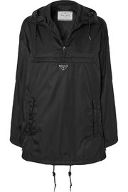 Prada Hooded leather-trimmed shell jacket