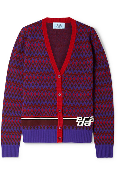 Intarsia Wool And Cashmere Blend Cardigan by Prada