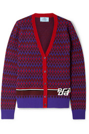 Intarsia wool and cashmere-blend cardigan