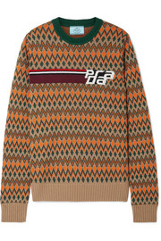 Intarsia wool and cashmere-blend sweater