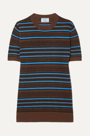 Prada Striped metallic wool-blend sweater