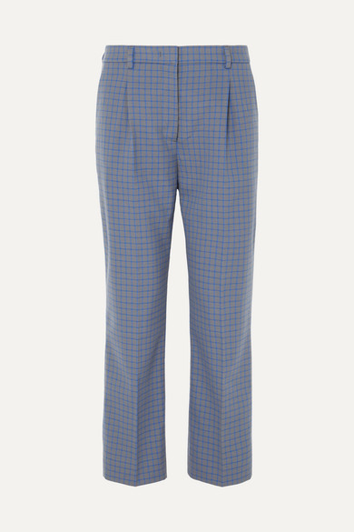 Prada Pants Cropped checked wool-blend straight-leg pants