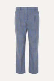 Prada Cropped checked wool-blend straight-leg pants