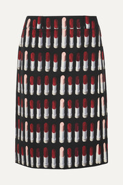 Prada Printed cotton-poplin wrap skirt