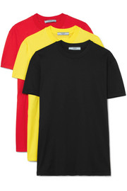 Prada Set of three cotton-jersey T-shirts