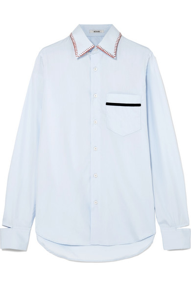 BLOUSE - Barry Embroidered Velvet-trimmed Cotton-poplin Shirt - Light blue