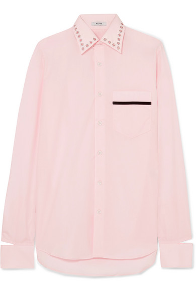 BLOUSE - Bobby Embellished Velvet-trimmed Cotton-poplin Shirt - Pink