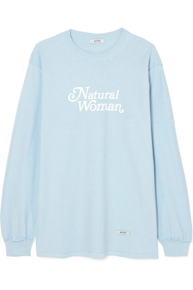 BLOUSE NATURAL WOMAN PRINTED COTTON-JERSEY TOP